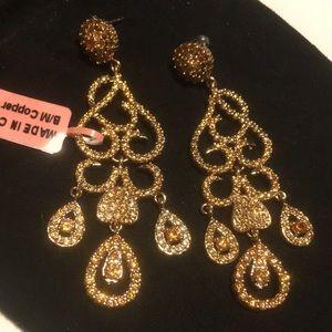 Copper chandelier citron long pierced earrings NEW